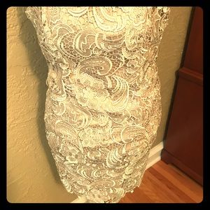 Gold lace strapless dress